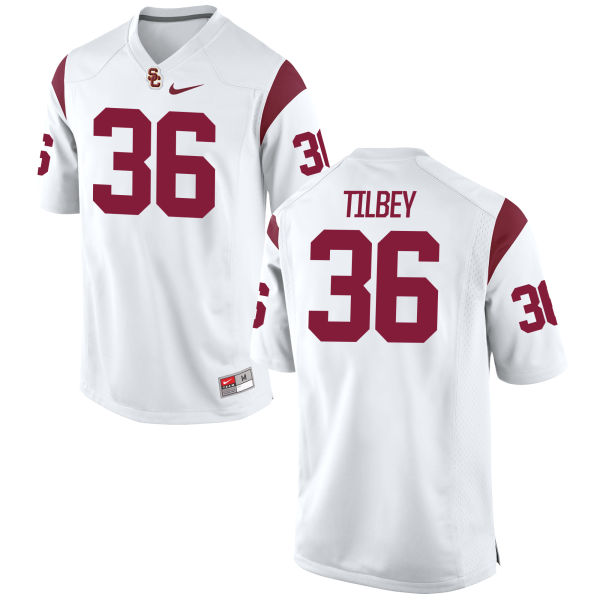 Men's Nike Chris Tilbey USC Trojans Authentic White Football Jersey
