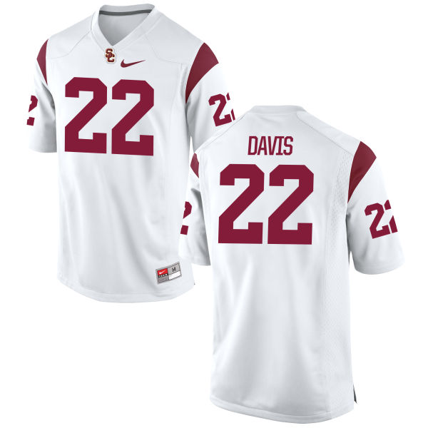 Men's Nike Justin Davis USC Trojans Replica White Football Jersey