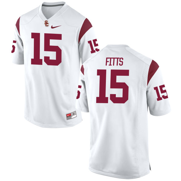 Men's Nike Thomas Fitts USC Trojans Game White Football Jersey