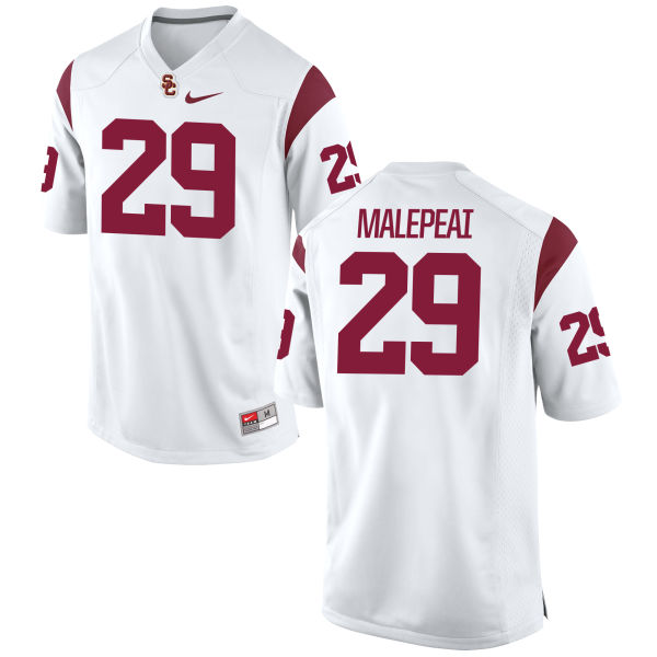 Men's Nike Vavae Malepeai USC Trojans Authentic White Football Jersey